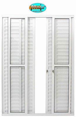 Porta Balcão em Alumínio Branco 6 Folhas Vidro Liso e Veneziana Com Fechadura - Linha 25 Mais Esquadrias