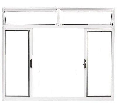 Janela de Correr em Alumínio Branco 4 Folhas com Bandeira Vidro Liso Incolor - Linha Moderna