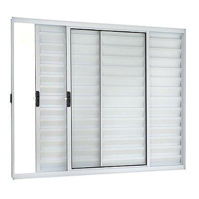 Janela Veneziana em Alumínio Branco 3 Folhas Uma Fixa Vidro Liso Incolor - Linha Moderna Esquadrisul