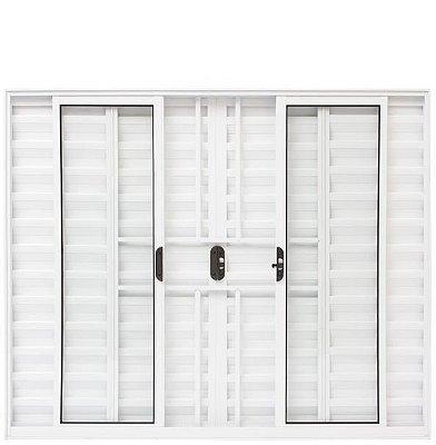 Janela Veneziana em Alumínio Branco 6 Folhas com Grade Vidro Liso Incolor - Linha Moderna Esquadrisul