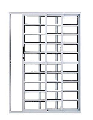 Porta de Correr em Alumínio Branco 3 Folhas de Vidro com Travessa e Fechadura - Linha Top Esquadrisul