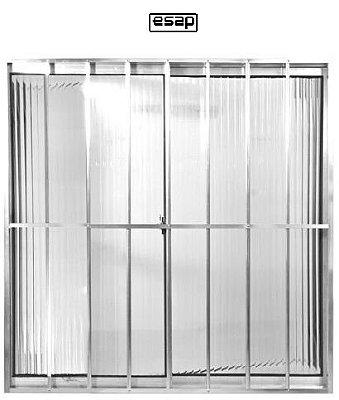 Janela de Correr em Alumínio Brilhante 2 Folhas uma Fixa Com Grade Vidro Canelado - Linha Modular Esap