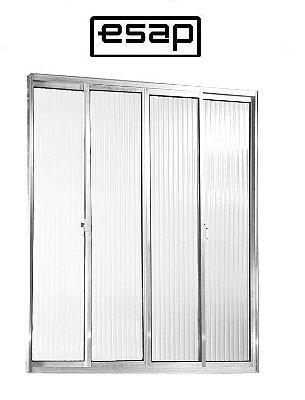 Janela de Correr em Alumínio Brilhante 4 Folhas Vidro Canelado - Linha Modular Esap