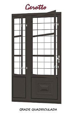 Porta de Abrir Seteira em Aço com Postigo (3 opções de grades) sem Vidro com Fechadura Requadro 12 cm - Linha Ouro Gerotto