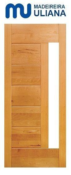 Folha de Porta de Abrir (Giro) em Madeira Cedro Arana Maciça Moderna Com Visor - Uliana