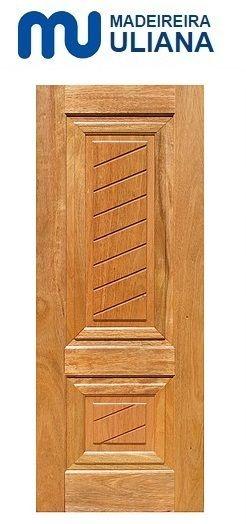 Folha de Porta de Abrir (Giro) em Madeira Cedro Arana Maciça Prata Diagonal - Uliana