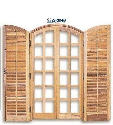 Porta Balcão em Madeira Imbuia 4 folhas de Abrir (Giro) em Arco com Veneziana e Ferragens em Arco - Batente de 14 Cm - Sidney Esquadrias
