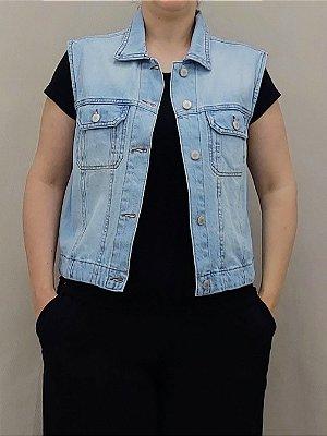 Colete jeans com bolso