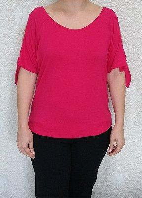 Blusa rosa de viscose com manga aberta