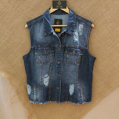 Colete jeans reasgado
