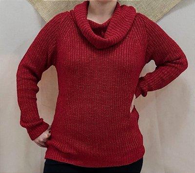 Blusa tricot vermelha gola boba