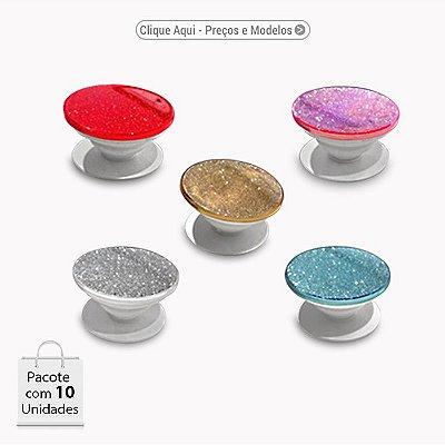 Pop Socket Glitter - Cores sortidas (Dourado / Prata / Rosa / Vermelho /  Azul)