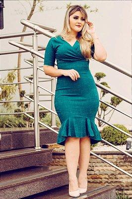 Vestido Moda Evangélica Midi Verde