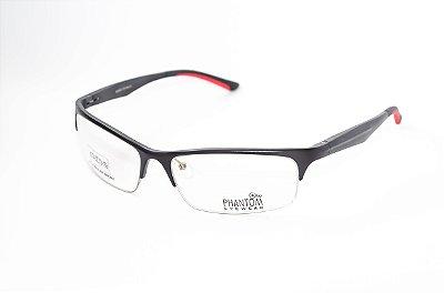 Armação para óculos de grau masculino grande esportivo preto em alumínio meio aro super leve tamanho 62