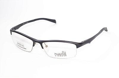 Armação para óculos de grau masculino grande esportivo preto em alumínio super leve tamanho 57