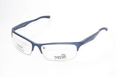 Armação para óculos de grau masculino grande esportivo Azul em alumínio super leve tamanho 62