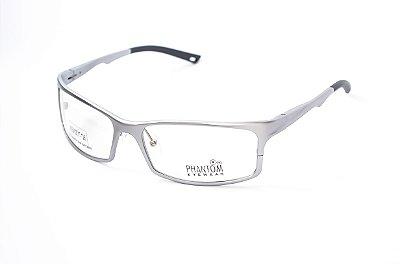 Armação para óculos de grau esportivo masculino extra grande prata alumínio super leve tamanho 63 aro fechado