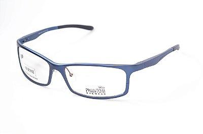 Armação para óculos de grau esportivo masculino grande azul alumínio super leve tamanho 59 aro fechado