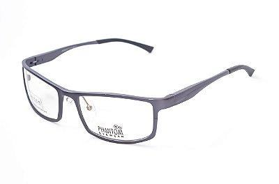 Armação para óculos de grau esportivo masculino grande grafite alumínio super leve tamanho 57 aro fechado