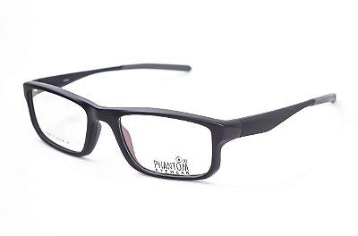 Armação para óculos de grau masculino grande preto em tr90 - hastes com molas estilo esportista 9047 tamanho 52