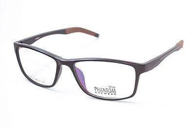 Armação para óculos de grau masculino grande marron em tr90 - hastes com molas estilo esportista 9046 tamanho 56