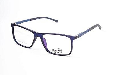 Armação para óculos de grau masculino grande azul quadrado em tr90 - hastes com molas estilo esportista tamanho 56
