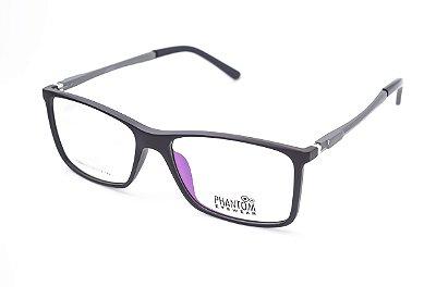 Armação para óculos de grau masculino grande preto quadrado em tr90 - hastes com molas estilo esportista tamanho 57