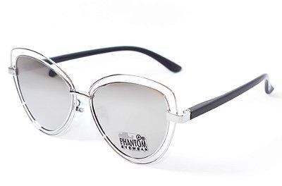 Óculos de Sol feminino Aramado espelhado oval gatinho redondo prata