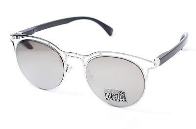 Óculos de Sol feminino phantom redondo espelhado grande com detalhes design modernista e super na moda