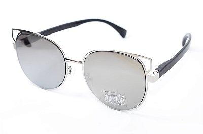Óculos de Sol feminino phantom redondo grande espelhado grande com detalhes design modernista e super na moda