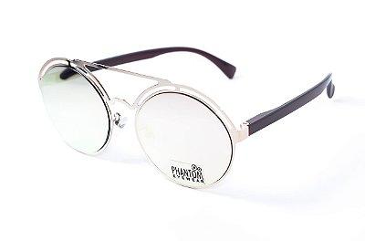 Óculos de Sol feminino phantom redondo grande espelhado com design gótico moderno e super na moda