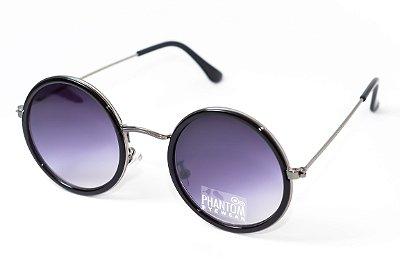 Óculos de Sol feminino phantom redondo tamanho médio preto estilo john lennon com lentes degradê