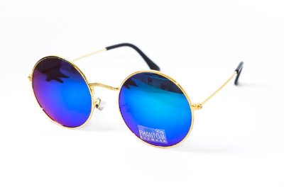 Óculos de Sol feminino phantom redondo tamanho médio dourado estilo john lennon com lentes espelhadas azuis