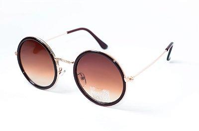 Óculos de Sol feminino phantom redondo tamanho médio marron estilo john lennon com lentes marron degrade
