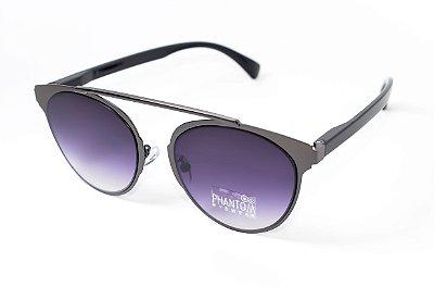 Óculos de Sol feminino morcego phantom redondo tamanho médio grafite linha gótico moderno