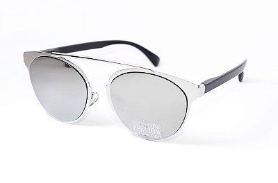 Óculos de Sol feminino morcego phantom redondo tamanho grande linha gótico moderno prata espelhado