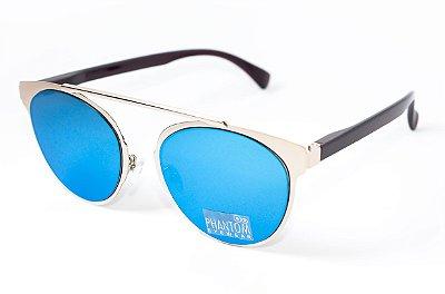 Óculos de Sol feminino morcego phantom redondo tamanho grande linha gótico moderno espelhado azul