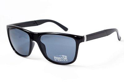 Óculos de Sol masculino preto brilhante phantom radical linha surf sol som e mar