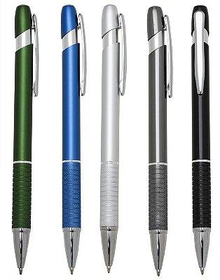 100 Canetas Semi-Metal Corpo Colorido com Detalhes Prata. Cód. ER193B