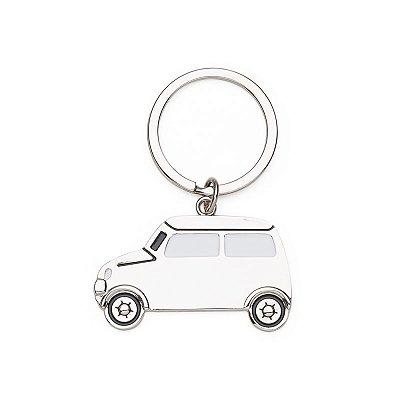 Chaveiro Metal Carro com Detalhes em Branco Preto. Cód. 13346