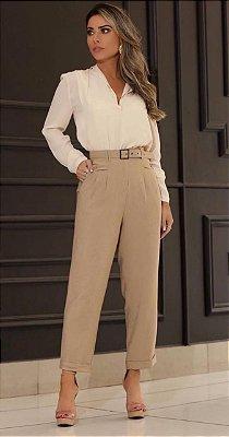 calça alfaiataria cintura alta