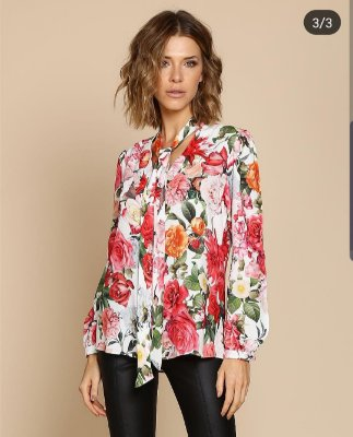Camisa florida viscose de algodão