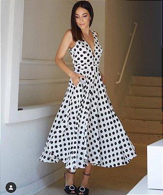 vestido poa midi com bolso