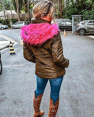 Casaco nylon com interior em pelos pink e gola removivel