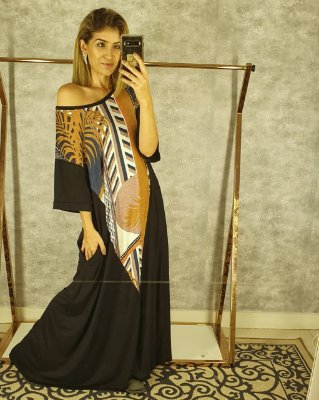Vestido basic longo estampa
