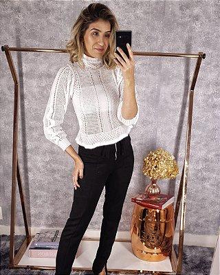 Blusa tricot manga longa peplum