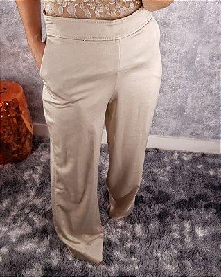 Calça alfaiataria pantalona acetinada