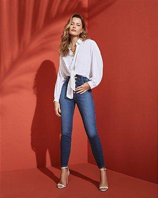Jeans botões cintura alta