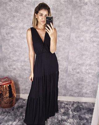 Vestido camadas longo sem manga basic