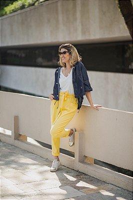 Calça de linho clochard amarela